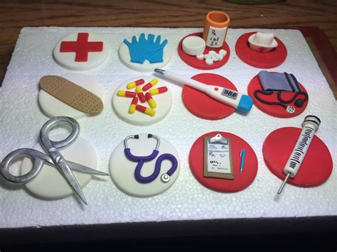 Nursing Cupcake Decorations by Set Of 12 Fondant Doctor Themed Cupcake Toppers