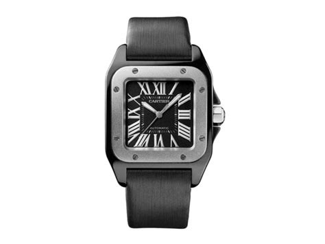 cartier santos black dial steel titanium mm release