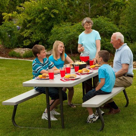 lifetime 22119 folding picnic table lifetime 22119 6 folding picnic table bench in putty
