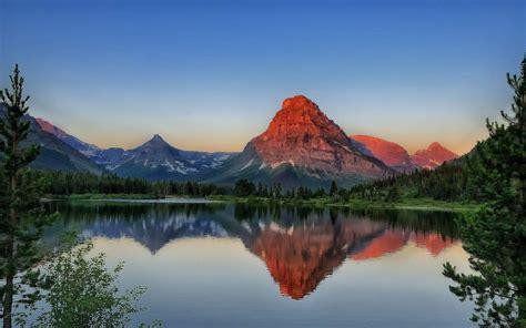 red mountain lake scenery wallpaper  desktop