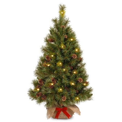 4 ft tree 4ft pre lit battery operated pine cone burlap artificial