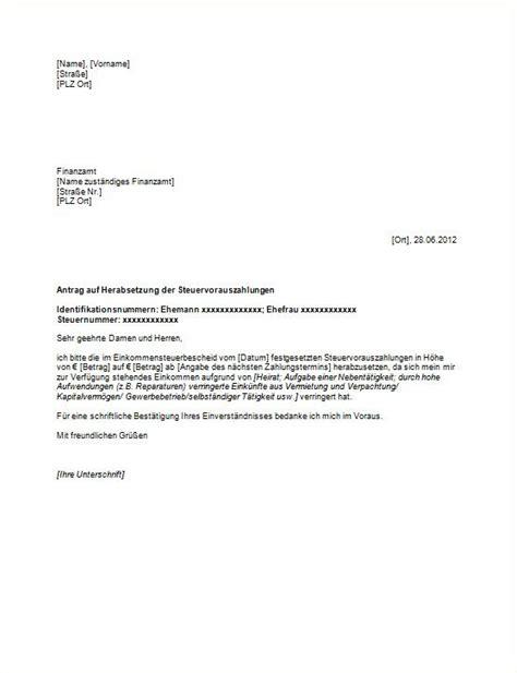 Antrag Briefvorlage Antrag Herabsetzung Der Vorauszahlungen Vorlagen Und Muster Vom Gr 252 Nderlexikon
