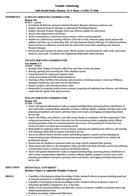 Tenant Services Coordinator Resume Sles Velvet Jobs Tenant Resume Template