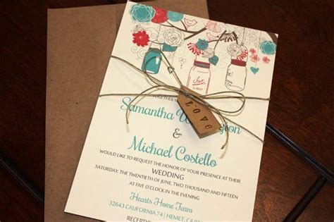 rustic twine wedding invitations jar wedding invitation with kraft envelope rustic wedding invitation tag twine