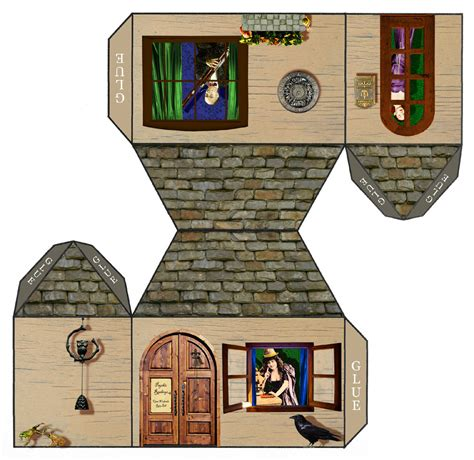 Tarot Girl Papercraft House Open Weekends Ring Bell 3d Paper Crafts House Plans