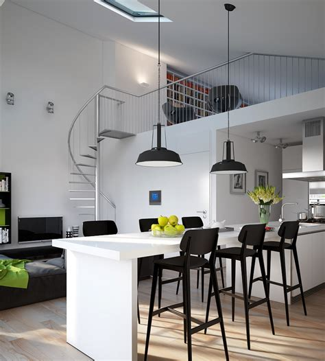 industrial style kitchen lighting d modern monochrome green apartment kitchen dining