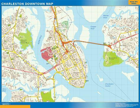charleston map charleston downtown map netmaps usa wall maps shop