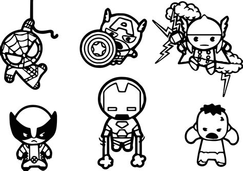 avengers cartoon coloring pages avengers baby chibi characters coloring page wecoloringpage