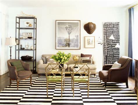 Nate Berkus Dining Room by Tapis Moderne 224 Rayures En Noir Et Blanc