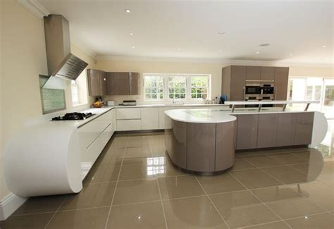 curved island kitchen designs curved two tone kitchen design with kitchen island
