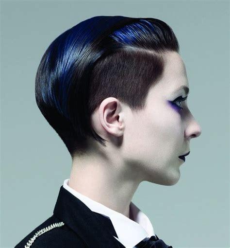 short black hairstyles shaved sides short black straight multi tonal coloured avant garde