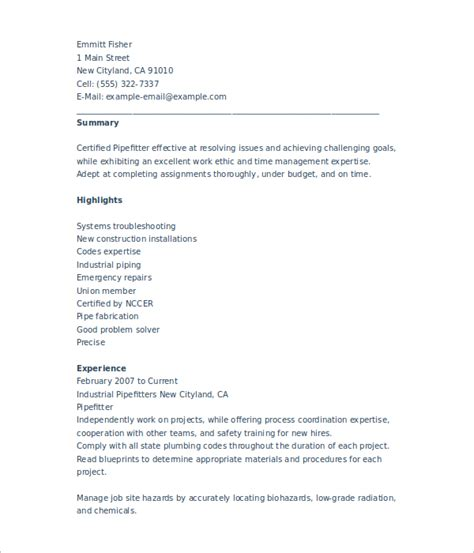 Pipefitter Resume Sle Pdf Pipefitter Resume Templates Free Premium Templates Creative Template