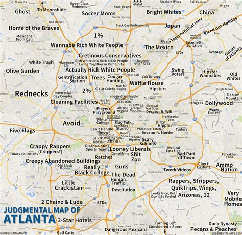 atlanta on the map judgemental map of atlanta atlanta