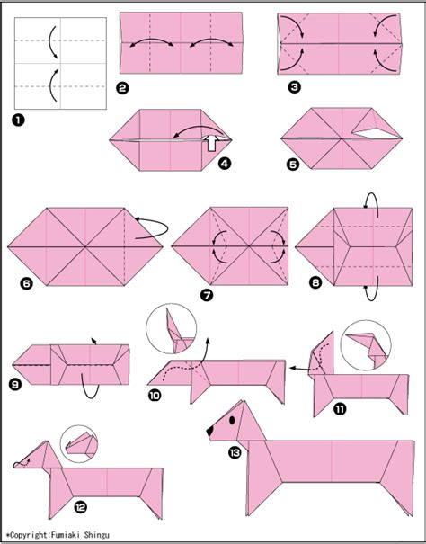 Origami Dachshund - origami dachshund scheme of paper in the