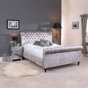 Crushed velvet silver grey chesterfield bed in double king super king