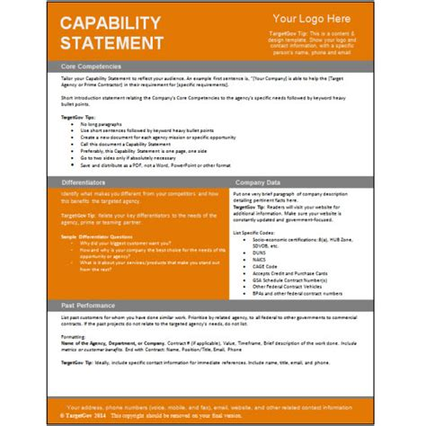 capability statement template capability statement editable template targetgov