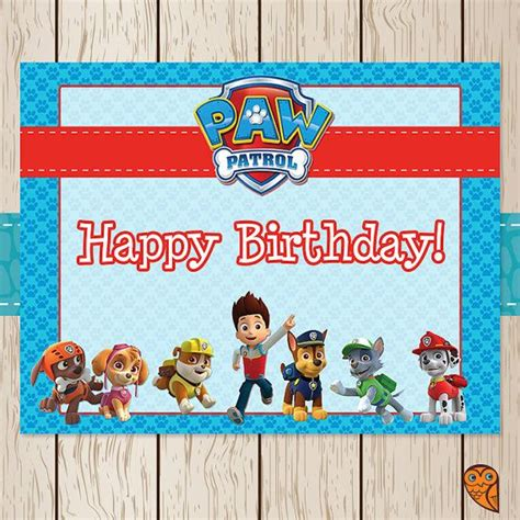 Printable Birthday Card Paw Patrol | printable paw patrol birthday sign paw by