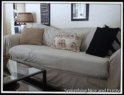 No Sew Dropcloth Slipcover I So Need This My Couch Has No Sew Sofa Slipcover