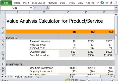 free value analysis calculator for products and services