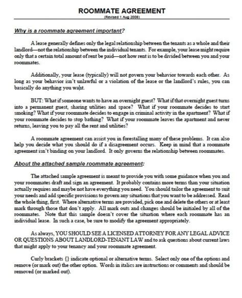 Roommate Contract Sle by Printable Sle Roommate Agreement Template Form Real Estate Forms Real Estate