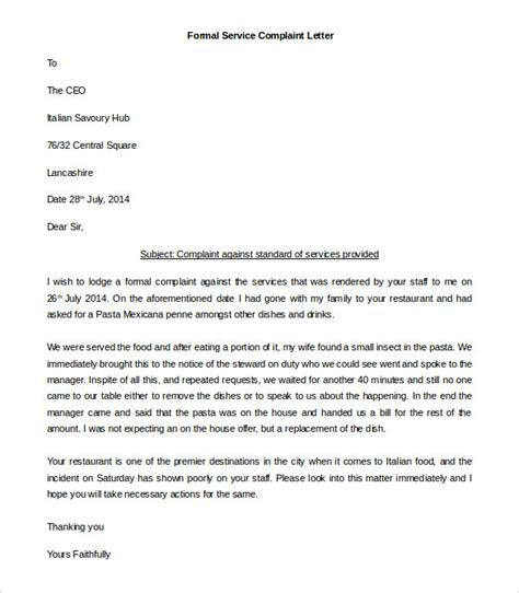 Complaint Letter Sle In Complaint Letter Template 28 Images Complaint Letter Template Uk Images Archives