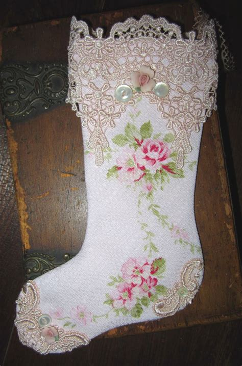 free pattern for victorian christmas stocking sweet shabby pale pink barkcloth roses small christmas