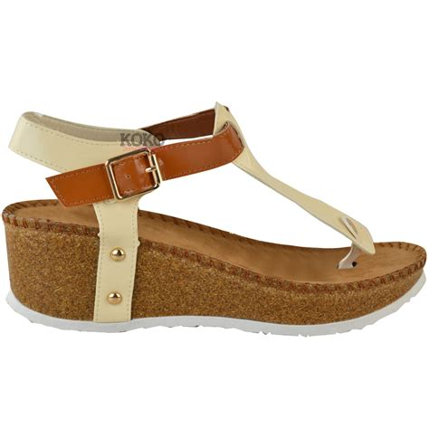 comfort wedges shoes new ladies womens wedge comfort sandals cushioned flip
