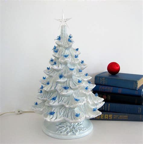 birds tree light vintage ceramic tree blue doves blue birds bulbs light up pastel snow frosted 16 inch
