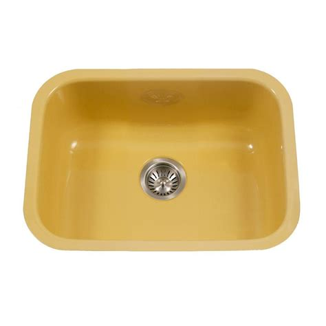Undermount Porcelain Kitchen Sinks Houzer Porcela Series Undermount Porcelain Enamel Steel 23 In Single Bowl Kitchen Sink In Lemon