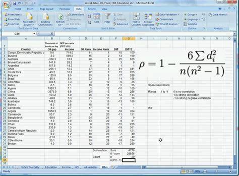 spearman s rank excel 2007 youtube