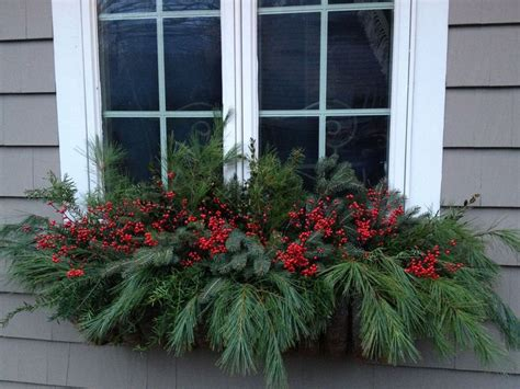 holiday window box outside decore pinterest