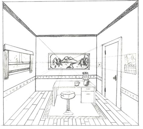 how to draw a room in 2 point perspective one point perspective interior by brandnewsong on deviantart