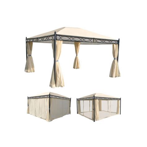 4x3 pavillon havepavillon 4x3m beige pavillon med myggenet