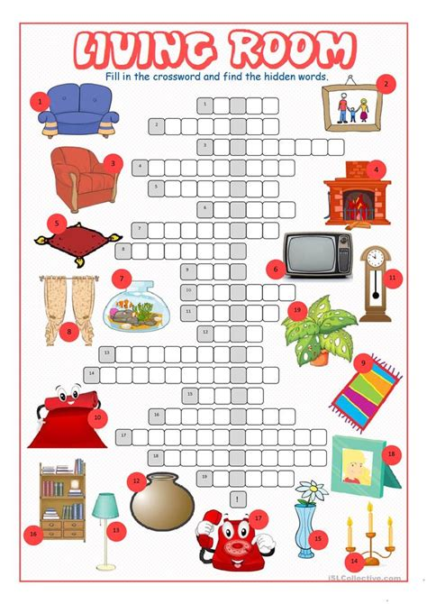 living room crossword puzzle worksheet free esl