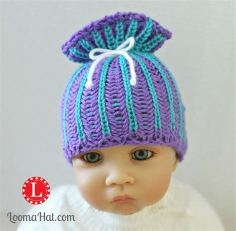paper bag hat knitting pattern loom knit brioche stitch paper bag sack baby hat by