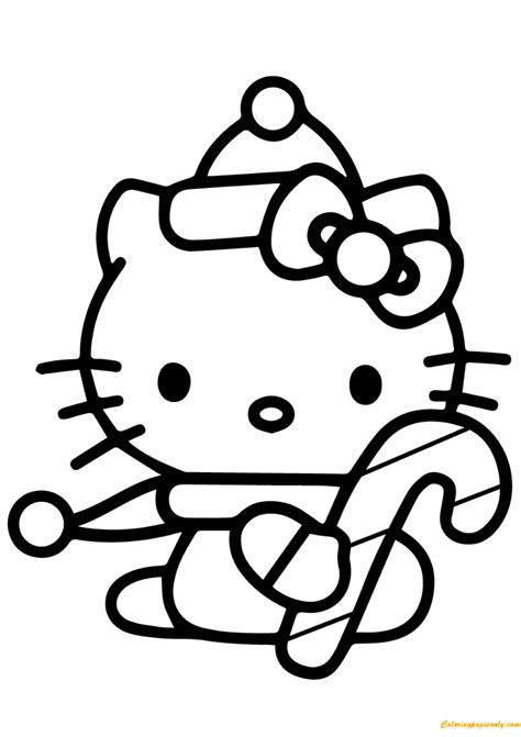 hello kitty xmas coloring pages hello kitty with christmas candy cane coloring page free