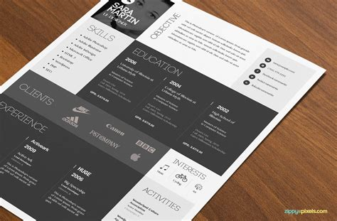 download psd resume template simple colorful design