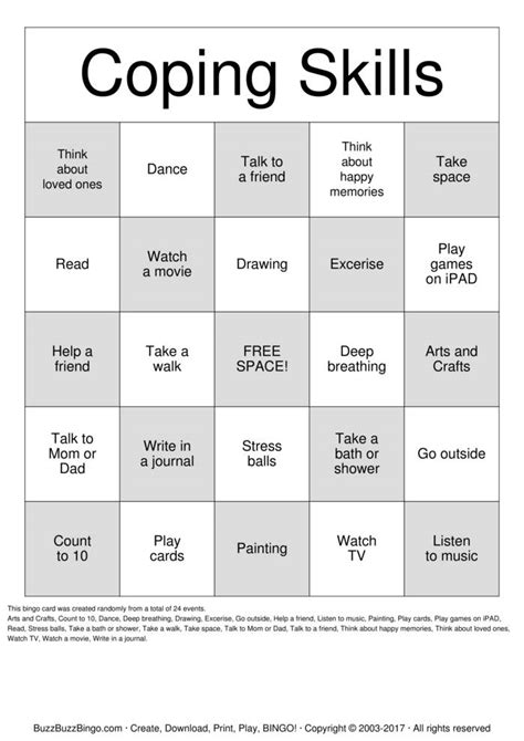 Bingo Search Search Results For Coping Skills Bingo Calendar 2015