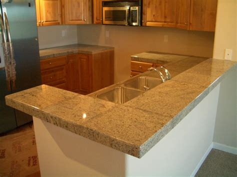 Granite Tile Kitchen Countertop And Bar Kitchen Tile Countertops