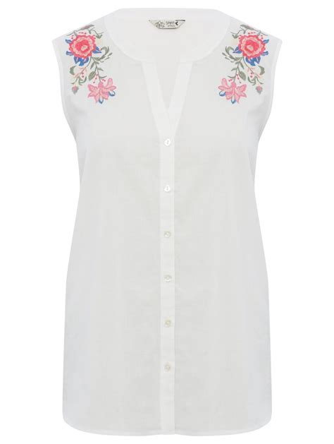 Embroidered Sleeveless Shirt by Sleeveless Floral Embroidered Shirt S Blouses