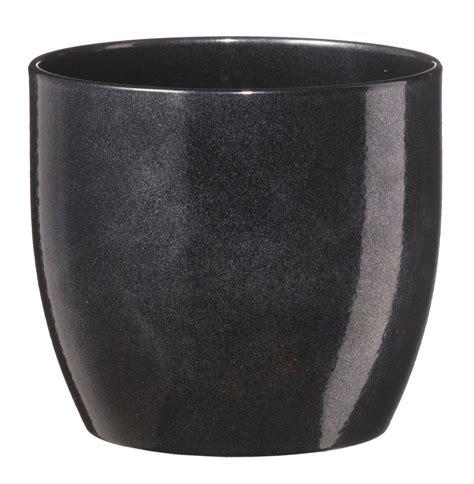 basel  glazed black brushed plant pot hcm