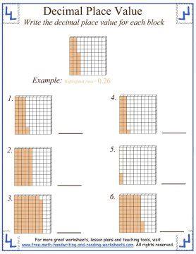 decimal house decimal place value worksheets