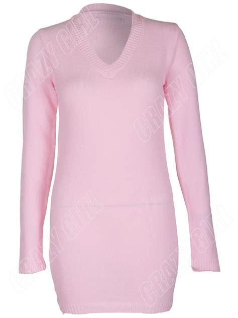 Plain V Neck Knit Dress new womens plain v neck knit knitted jumper