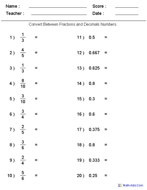 decimal to fraction worksheet with answers fractions worksheets printable fractions worksheets for teachers