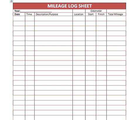 printable calendar log search results for printable mileage log template