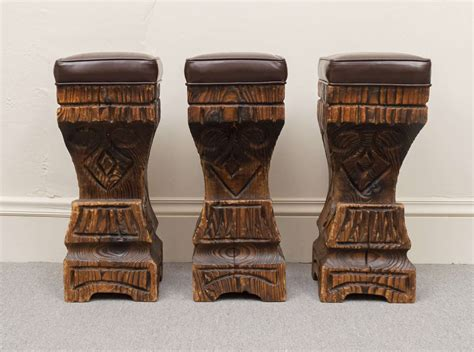 Tiki Stools by Three 1970s Witco Carved Tiki Bar Stools With Leather