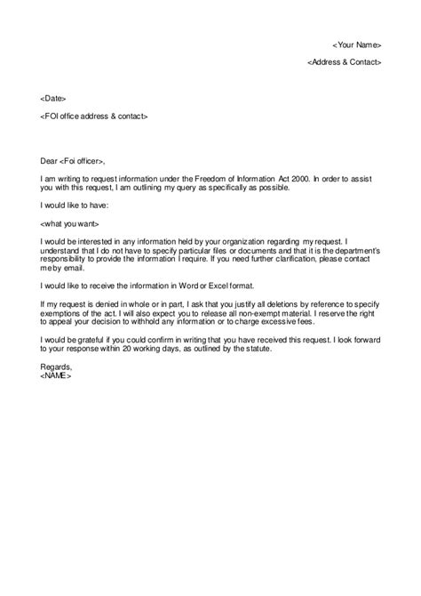 freedom information request letter template