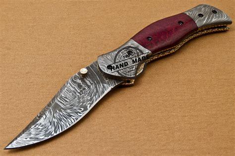 Custom Handmade Folding Knives - custom handmade damascus folding liner lock knife with
