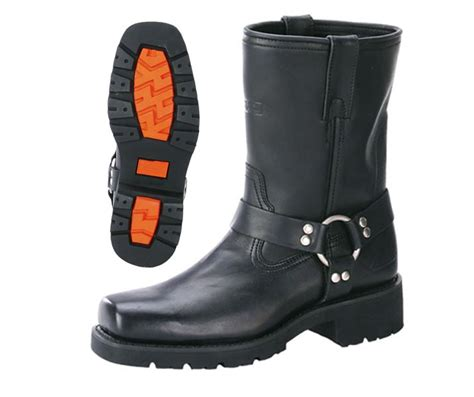 real leather harness mens motorcycle boots black