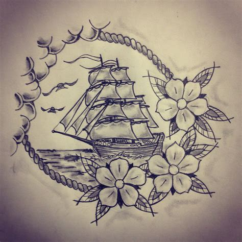 nautical rose tattoo ship roses sketch by ranz